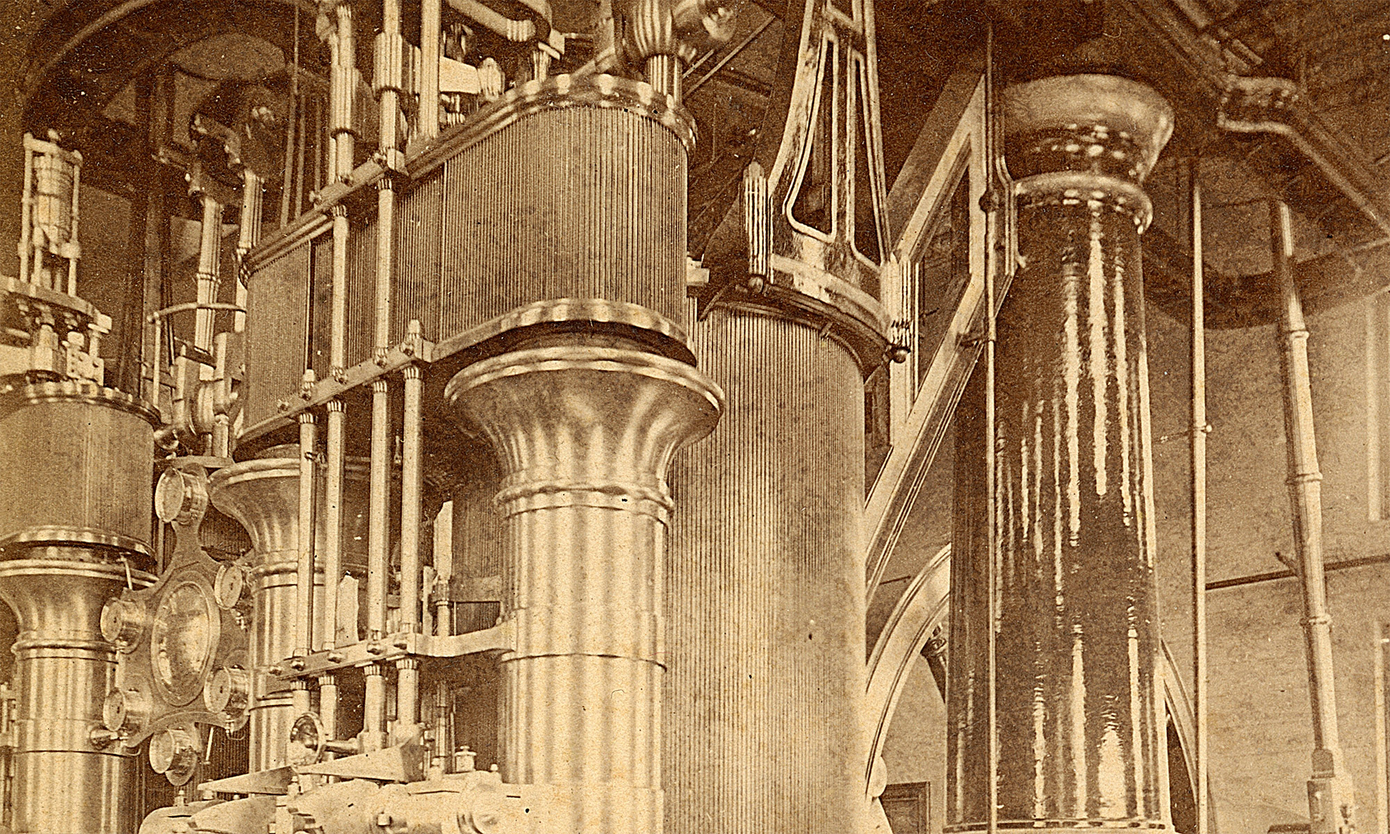 One-shot #27: Interior of the Chicago Water Works Pumping Engine House in 1875